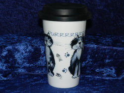 Cats (blue cats) ceramic travel mug. Insulated double walled mug with silicone lid