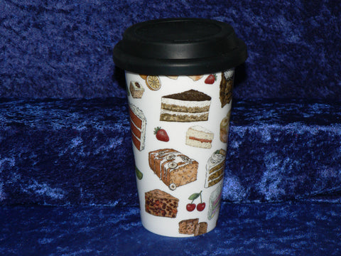 Cakes ceramic travel mug. Insulated double walled mug with silicone lid