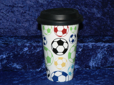 Football ceramic travel mug. Insulated double walled mug with silicone lid