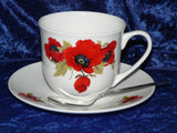 Poppy teacup and saucer set.  Bone china cup and saucer gift boxed with spoon