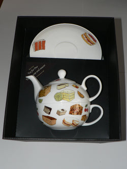 Cakes pattern tea for one set Teapot cup and saucer gift boxed T41 Tea 4 1