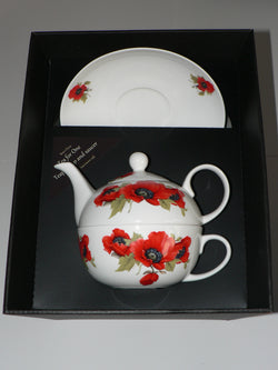 Poppy tea for one set Teapot cup and saucer gift boxed T41 Tea 4 1
