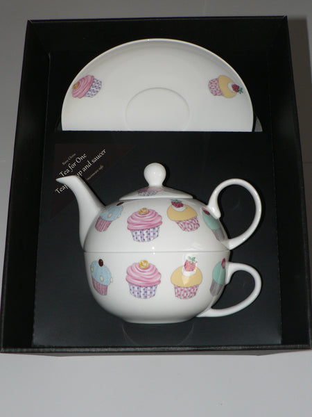 Cupcake tea for one set Teapot cup and saucer gift boxed T41 Tea 4 1