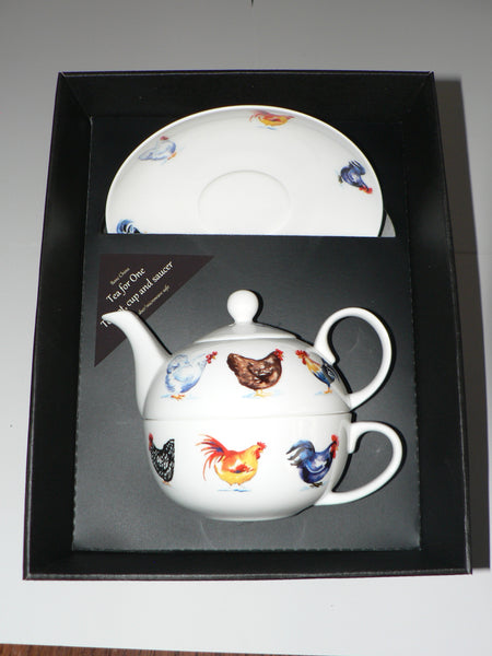 Chicken tea for one set Teapot cup and saucer gift boxed T41 Tea 4 1