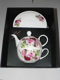 Rose tea for one set Teapot cup and saucer gift boxed T41 Tea 4 One