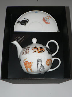 Cats (chintz) tea for one set Teapot cup and saucer gift boxed T41 Tea 4 One set