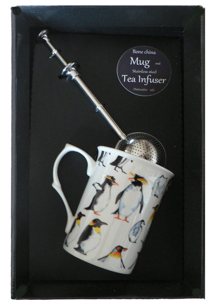 Penguin bone china mug with stainless steel tea infuser gift boxed