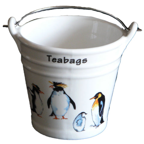 Penguin Teabag tidy. Bucket shaped used teabag pot used teabag holder
