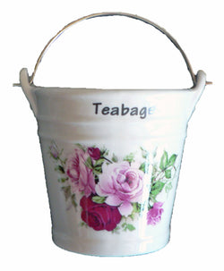Rose Teabag tidy. Bucket shaped used teabag pot used teabag holder
