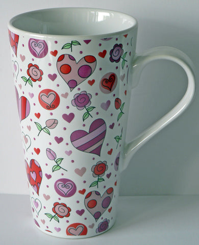 Pink & red love hearts ceramic large latte mug 3/4pt capacity shabby chic design