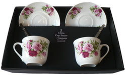 Pink rose design set of 2 cups and saucers gift boxed with teaspoons