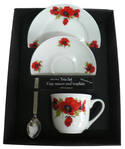 Poppy trio set. cup & saucer with teaspoon and matching tea plate gift boxed