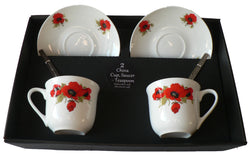 Poppy design set of 2 cups and saucers gift boxed with teaspoons
