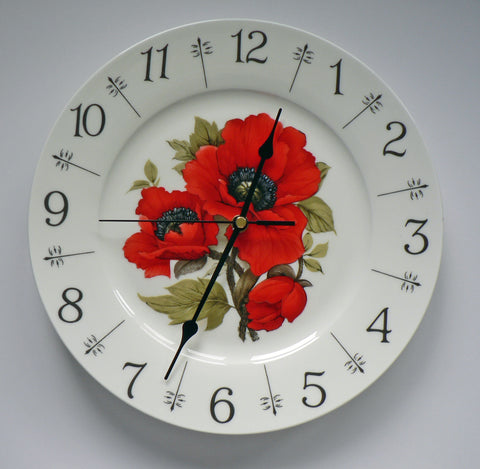 "Poppy design 11"" large bone china wall clock - Beautiful bright red"