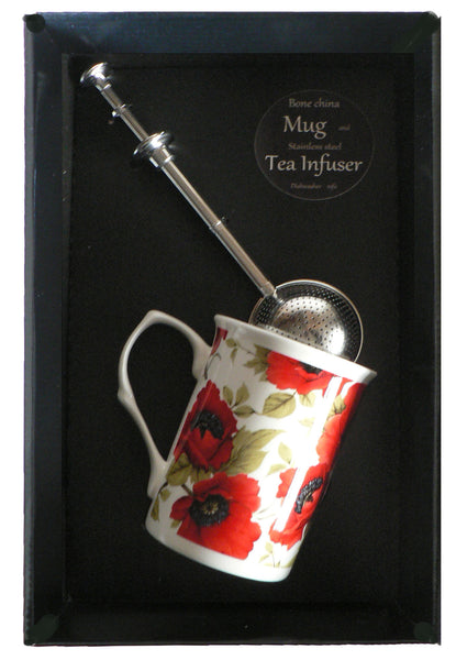 Poppy bone china mug with stainless steel tea infuser gift boxed