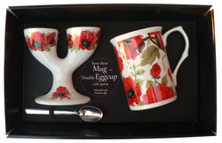 Poppy Double eggcup with Egg Spoon and Bone China Mug Gift Boxed