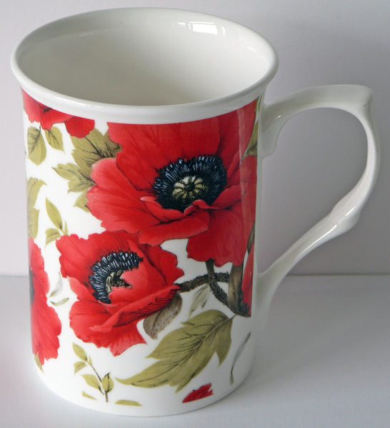 Poppy China mug, Bone china mug decorated all round with pretty poppies