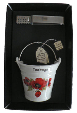 Poppy design bucket shaped Teabag tidy used teabag holder & tongs in gift tray shrink wrapped