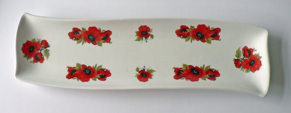 Poppy design porcelain garlic bread tray tapas dish nibbles dish snack tray