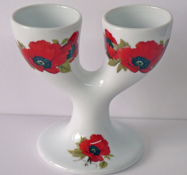 Poppy double egg cups. Porcelain poppy design eggcup designed for 2 boiled eggs