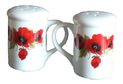 Poppy Salt and pepper shakers. Large simple shape with colourful poppies