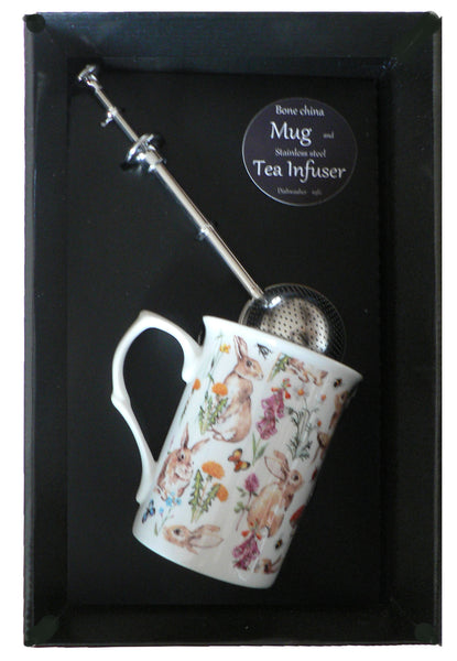 Rabbit bone china mug with stainless steel tea infuser gift boxed