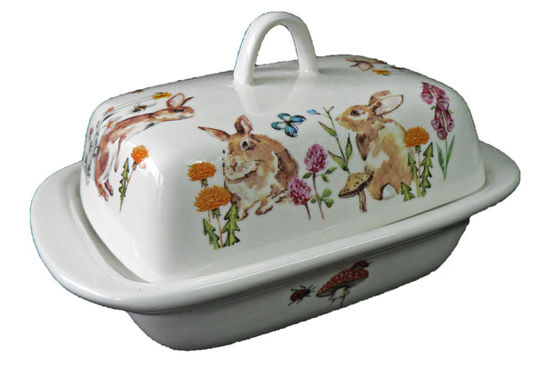Rabbits porcelain traditional deep white butter dish