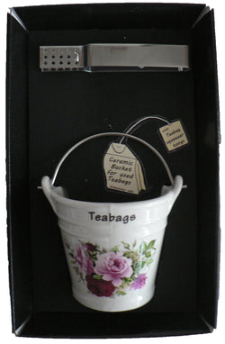 Pink rose design bucket shaped Teabag tidy used teabag holder  & tongs in gift tray shrink wrapped