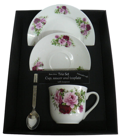 Pink Rose trio set. cup & saucer with teaspoon and matching tea plate gift boxed