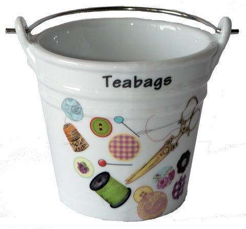 Sewing Teabag tidy. Bucket shaped used teabag pot used teabag holder