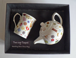 Sewing, needlework 2 cup teapot,with matching bone china mug - gift boxed.