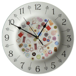 "Sewing design 10.5"" large ceramic wall clock"