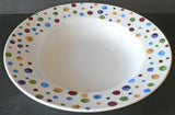 Small ceramic pasta bowl with  colourful spots design 23cm  8.5""