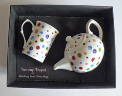 Spots 2 cup teapot,with matching bone china mug - gift boxed. Dots polka dots
