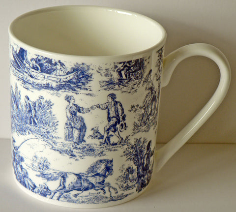 Toille de jouy - 1 pint bone china mug diff all round