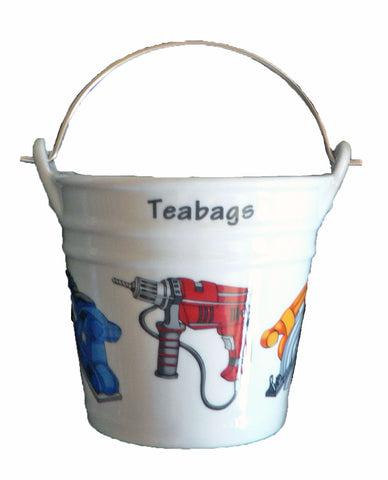 Power tools Teabag tidy. Bucket shaped used teabag pot used teabag holder
