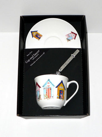 Beach Hut cup and saucer set.  Bone china cup and saucer gift boxed with spoon