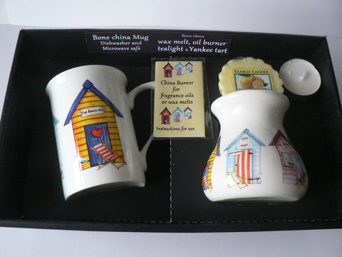Beach Hut bone china Mug & oil burner gift set