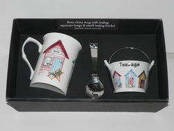 Beach Hut mug, teabag tidy bucket and teabag squeezer tongs gift boxed