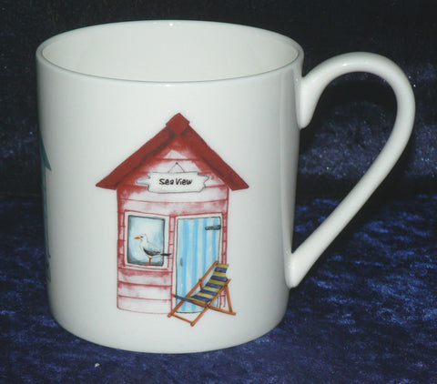 Beach hut pint sized bone china mug