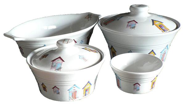 Beach Huts tableware choice of 2 sizes of casserole serving dish, oval dish, ramekin