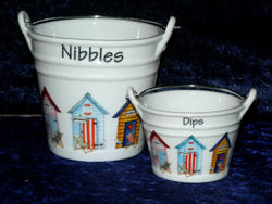 Boxed pair of Beach Hut Ceramic buckets perfect for tapas dishes nibbles & dips