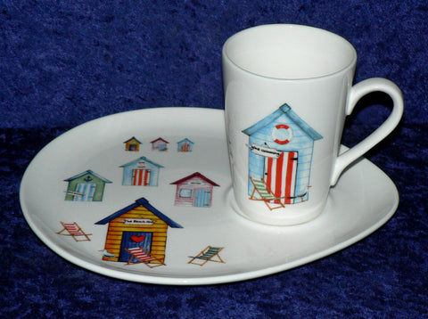 Beach Huts snack plate and mug set