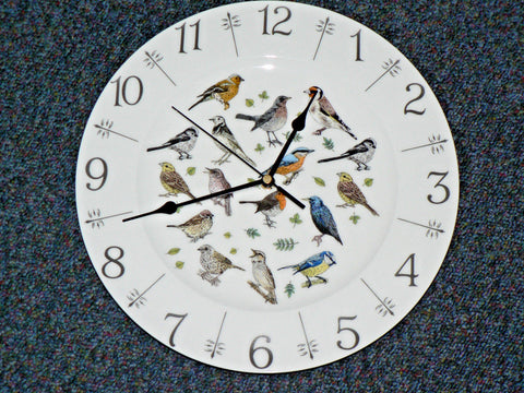 "Garden Birds 11"" large ceramic wall clock - gift boxed.Robin Wren Thrush"