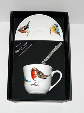 Birds - Garden Birds teacup and saucer set.  Bone china cup and saucer gift boxed with spoon