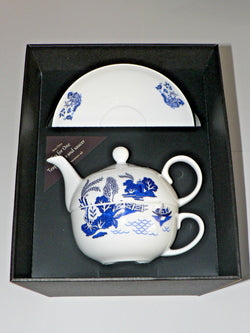 Blue willow pattern tea for one set Teapot cup and saucer gift boxed T41 Tea 4 1