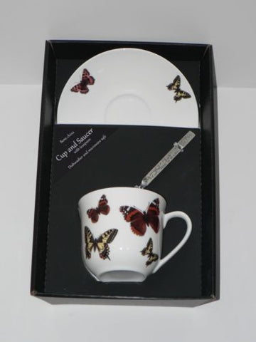 Butterfly teacup and saucer set.  Bone china cup and saucer gift boxed with spoon