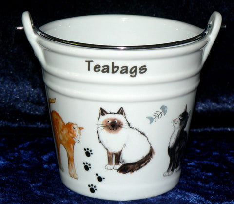 Cats Teabag tidy bucket shaped used teabag pot, used teabag holder  (large)