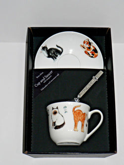Cats and kittens cup and saucer set.  Bone china cup and saucer gift boxed with spoon
