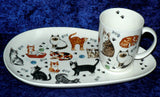 Cats and kittens snack plate & mug.